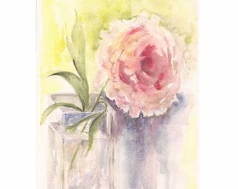 "Pink Peony II, Print of Watercolor 8""x10"""