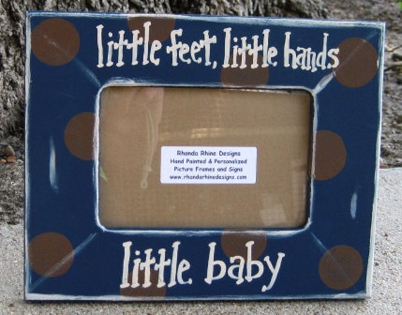 4x6 Navy and brown frame with Little feet,little hands, little baby in khaki