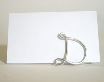 Initial Letter Place Card Holders -  SET OF 20 in Silver or Gold - for Weddings, Anniversaries