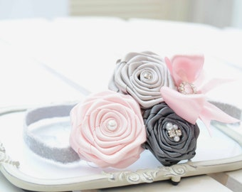 Chic Pastel Headband with Pink , Dark Gray and Silver Roses