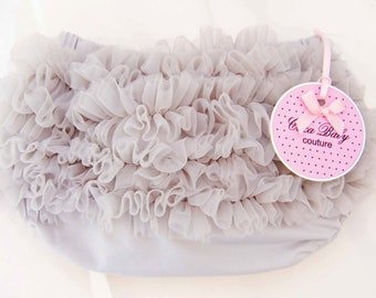 Baby Bloomers With Soft Ruffle Gray