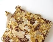 Potholder Set: Golden Leaves and Tan Stripe