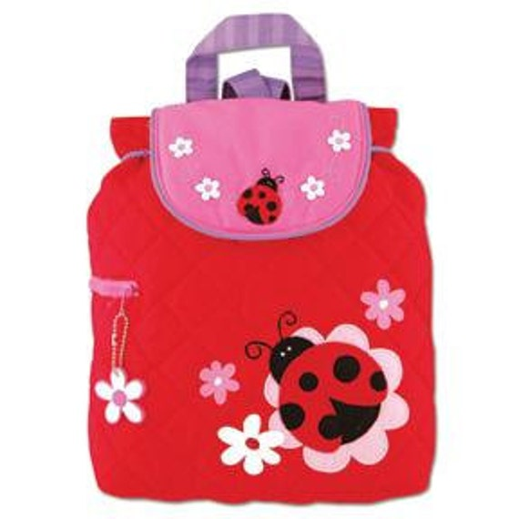 SHIPS NEXT DAY--Personalized Monogrammed Stephen Joseph Quilted  Ladybug Backpack--Free Monogramming--