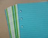 Lined Notepaper inserts - Fits Filofax or Organiser - blue and green - A5/personal/pocket/mini