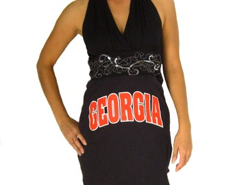 One of a Kind Gameday Dress made w/ UGA Tshirt - Medium - On Sale and Free Shipping