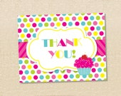 cupcake Sweet shop Thank You Cards - set of 12