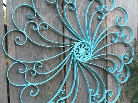 iron wall decor aqua wall decor patio decor shabby chic decor