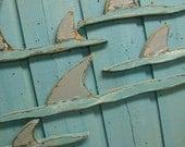 Shark Fins Sign Beach House Shark Week Wall Art Decor by CastawaysHall
