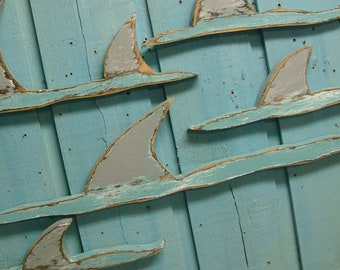 Shark Fins Sign Beach House Shark Week Wall Art Decor by CastawaysHall