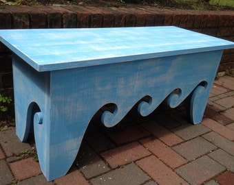 Waves Bench Coffee Side Table Waves Beach House Chair - Assemble Yourself Beach House Decor