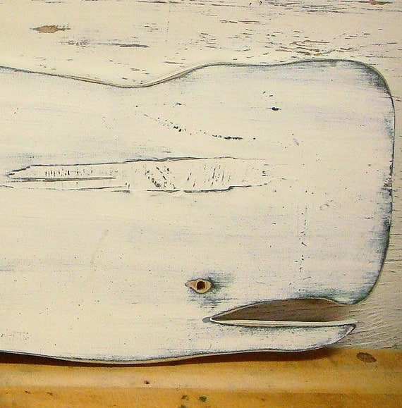 White Whale Wall Decor : Whale sign wall art beach house decor weathered by