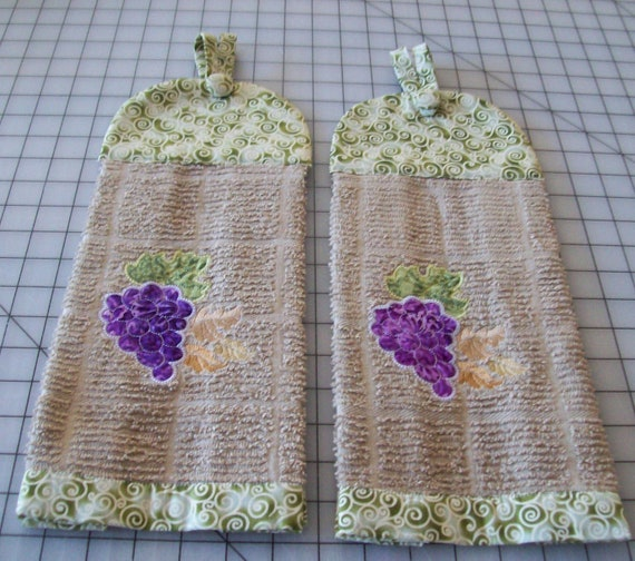 Decorative Kitchen Towels, 2 New, Grape Design  Embroidered with cordinating fabric
