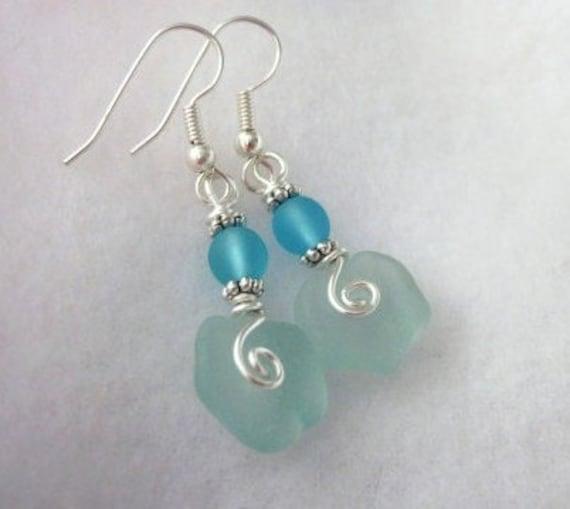 Sea Glass Jewelry, Sea Glass Earrings, Bridesmaids Jewelry, Bridal Jewelry, Beach Wedding, Summer Jewelry