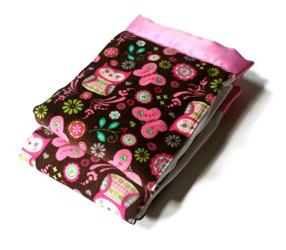 Baby Girl Burp Cloths in Corduroy Owls and Butterfly's