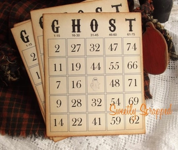 Ghost Vintage Bingo Cards.... Halloween, Scrapbooking, Embellishment, Journaling Card, Spot