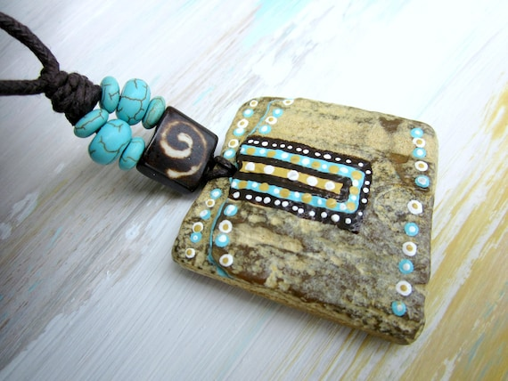 Petrified WOOD Necklace // Hand PAINTED Pendant // Turquoise // Rustic TRIBAL Organic // Original Wearable Art