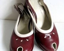 John FLUEVOG Vintage 90s Shoes Wingers Wine Two Tone 1990s Rockabilly Slingback Peep Toe Shoes Size 6