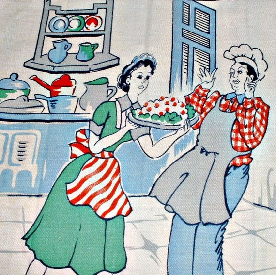 Vintage Towel Waitress Wows with Dessert Delights Chef Whimsical Textile
