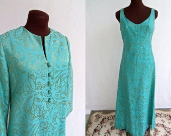 Vintage 60s Dress Evening Dress Gown and Full Length Coat Turquoise Brocade  Size S / Small