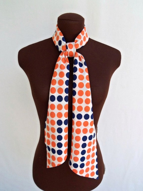 Vintage 60's Scarf Belt Polka Dots Orange Navy Blue Rectangular Mod