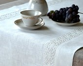 Table Runner / Placemat  For Two  - Tracery White Linen Lace