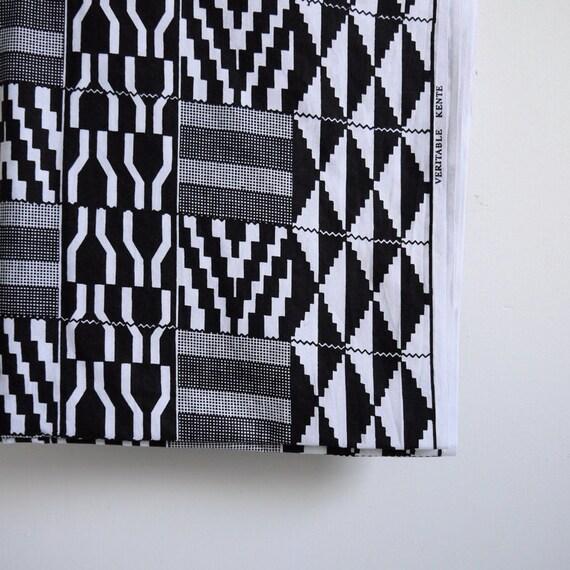 Yardage - Dutch wax style printed fabric black and white by the yard monochrome