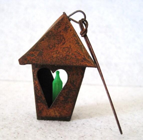 Fairy Lantern Miniature Garden Light: Primitive Rusted Tin