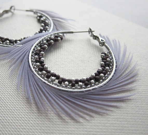"""Silver hoop earrings with lavender feather, beaded with silver and matte purple seed beads (1.5"""")"""