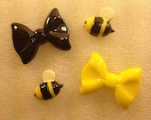 NeW ThE BoWs aNd tHe BeEs Kawaii Flatback Resin Cabochon 4 pieces USA SHIPPING 50% oFF wiTh CoUpOn CoDe: SALE50
