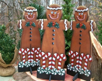 Gingerbread Man, wooden, standing, hand painted