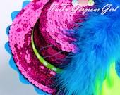 Hot Pink Sequin Mini Top Hat...Headpiece, Fascinator...Halloween, Dance Recital, Pageant, Photo Prop, Costume . . . Born To Be Fab