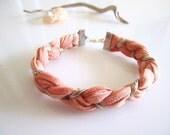 Peach Bracelet - Coral Bracelet - Fiber Bracelet- Eco Friendly Braided Bracelet - Dyed Recycled Tshirt Bracelet, Silver Gold Sparkle Yarn