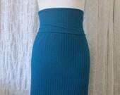 Matador Skirt- Teal Ribbed Pencil Skirt