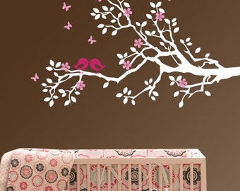 Nursery wall decal branch vinyl decal children decal birds decal  customized decal