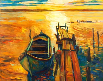 Light--Original Oil Painting on Canvas 24x20 Seascape Painting Original Art Impressionistic OIl on Canvas by Ivailo Nikolov
