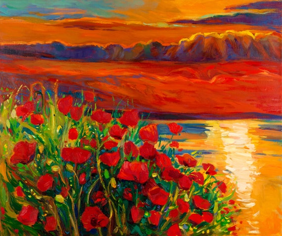 Red poppies 21x18 in, Landscape Painting Original Art Impressionistic OIl on Canvas by Ivailo Nikolov
