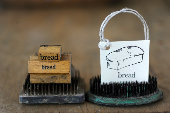 vintage, rubber stamp, bread, words, scrapbooking, mixed media, supplies