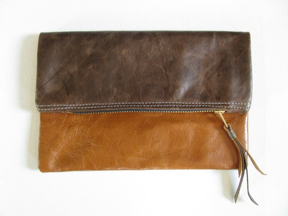 Two Tone Reversible Fold Over Clutch Bag / Cosmetic Bag /  Hand Bag - Distressed Brown Leather, Congnac  leather