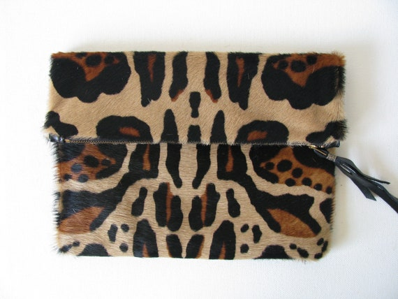 Large Fold Over Clutch Bag / Cosmetic Bag / Hand Bag -- Hair on Cowhide Leather