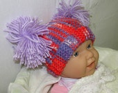 Colorful Knit Baby Pom Pom Hat, Purple Baby Pom-Pom Hat, Red & Purple Baby Pom-Pom Hat, Baby Hat With Pom-Poms