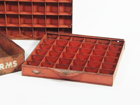 3 Industrial Metal Drawers distressed orange color
