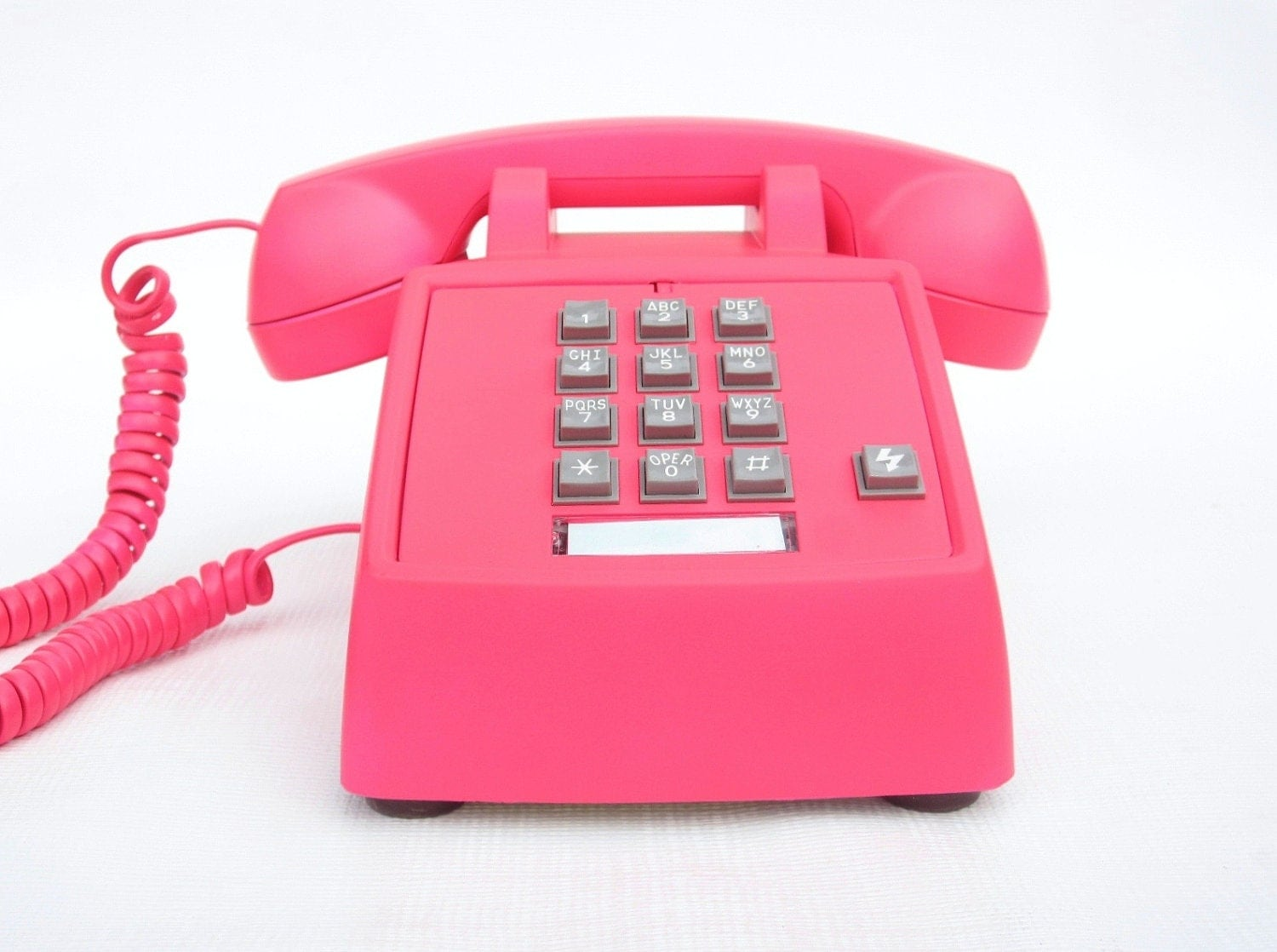 Neon pink vintage phone push button telephone by ohiopicker