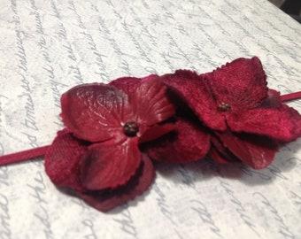 Cranberry Flower Headband, Baby Flower Headband, Hydrangea Headband, Newborn Headband, Photography Prop