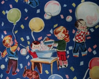 Bubbles & Balloons Vintage Cotton  Fabric /Sewing Craft Supplies/Apparel Fabric/ Quilt 100% Cotton Fabric