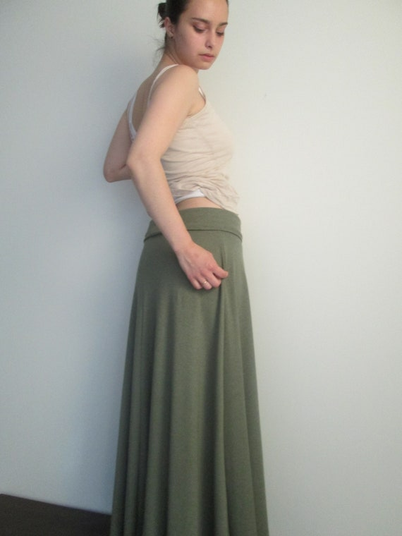 Long Cotton Blend Eco Skirt with Fold-Over Waistband  in Black and Navy -  (Made to Order/Ships within 1 week)