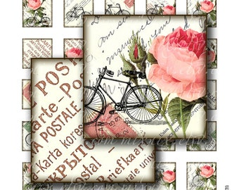 vintage bike 1 x 1 inch square images Printable Download Digital Collage Sheet diy altered art jewelry pendant sticker magnet roses inchies