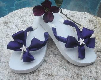 Flip Flop/Wedges for Bride/Bridesmaids.Beach Wedding.Rhinestone Starfish.Eggplant/Purple Ribbon Flip Flops.