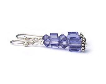 Tanzanite Purple Crystal Earrings Sterling Silver Swarovski Crystal