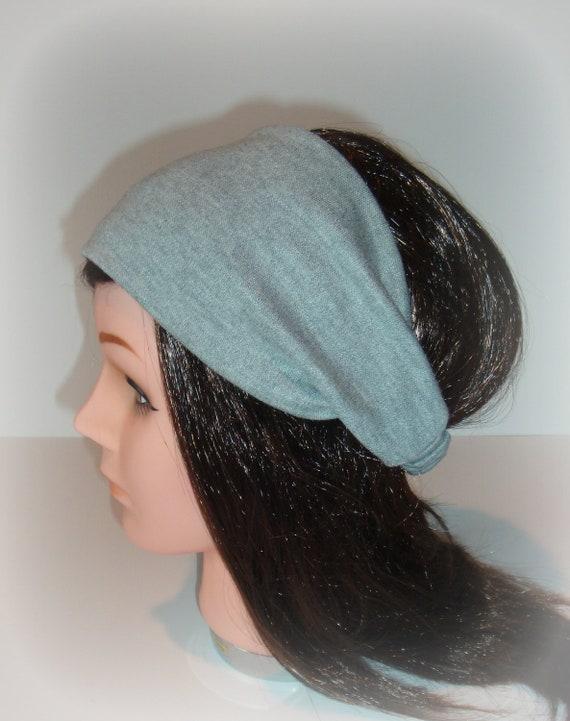 Gray stretch cotton fabric headband hair wrap hair band yoga exercise