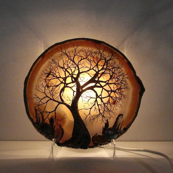 Tree Of Life Ancient Spirit sculpture Natural Brazil geode Agate slice, Tourmaline, Crystals, Citrine, Moss Agate LAMP, original Art  LP21